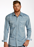 Men's Long Sleeve Slate Shirt with White Stitching Accents by Panhandle Slim