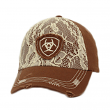 Ladies Distressed Brown and Lace Ball Cap by Ariat