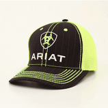 Men's Back and Lime Green Pinstripe Shield Ball Cap by Ariat