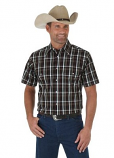 Men's Black and Red Plaid Short Sleeve Western Shirt with Pearl Snaps by Wrangler