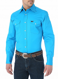 Men's Premium Performance Advanced Comfort Cowboy Cut Long Sleeve Shirt in Blue by Wrangler