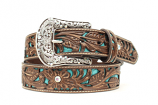 Women's Ariat Turquoise Inlay Pattern with Rhinestones Belt by M&F Western Products, Inc.