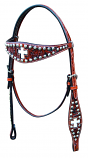 Floral Inlay Cross Browband Headstall by Bar H
