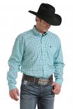 Men's Light Blue Print Long Sleeve Button Down Shirt by Cinch