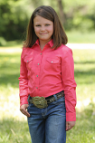 Girl's Pink Long Sleeve Western Snap Shirt by Cruel Girl