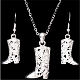 Boot Earring & Necklace Set By 3D Belt Co.