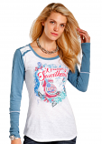 """Women's Scoopneck knit with """"Cowboy Sweetheart"""" Graphic Tee by Panhandle Slim"""