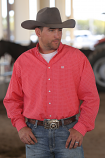 Men's Red Waffle Geo Print Button Down Shirt By Cinch