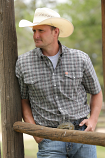 Men's Multi Color Plain Weave Plaid Double Pocket Short Sleeve Shirt by Cinch