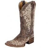 Women's Square Toe Brown Crater Bone Embroidery Boot by Corral