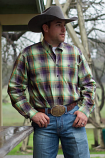 Men's Green and Purple Plaid Long Sleeve Button Down Shirt by Cinch