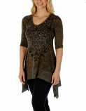 Brown Vintage Crystals Tunic Top by Liberty Wear