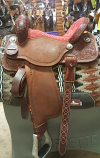 "14 1/2"" BTR Red Quilted Suede Seat by Martin Saddlery"