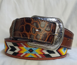 "Men's 1 1/2"" Beaded Southwestern Belt by 3D"