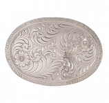 Oval Engraved Western Belt Buckle with Geometric Trim by Montana Silversmiths
