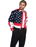 Men's Long Sleeve Flag Pattern Western Shirt from Scully