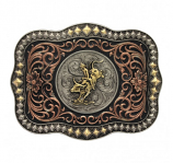 Tri-Color Diamond Trim Scalloped Bull Rider Attitude Buckle by Montana Silversmiths