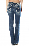 Women's Easy Fit Medium Wash Jean with Embellished Pockets by Grace in LA