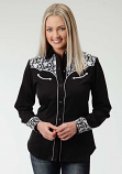 Women's Black and White Embroidered Old West Classic Shirt by Roper