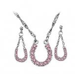 Pink Ice Lucky Horseshoe Jewelry Set by Montana Silversmiths