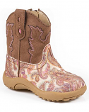 Newborn Pink Glitter Paisley Western Boots by Roper
