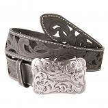 "Women's 1 1/2"" Angel Ranch Black Floral Belt by 3D"