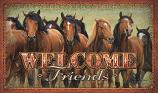"""""""Welcome Friends"""" Horse Scene Door Mat by Rivers Edge"""