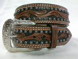 Adult Leather Vine Carving Belt by Western Fashion