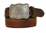 Kid's Shield Logo Distressed Leather Belt by Ariat