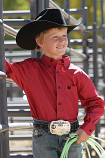 Boy's Red and Navy Pin Check Button Down by Cinch