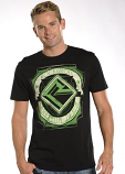 "Men's ""Built on Tradition"" Distressed Black and Green Short Sleeve Tee by Rock and Roll Cowboy"