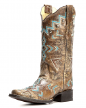 Women's Cowhide Square Toe Boot with Embroidery and Studs by Corral Boots