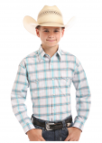 Boy's Long Sleeve Holden Vintage Ombre Plaid Rough Stock Shirt by Panhandle Slim