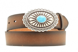 Women's Ariat Belt with Silver Oval and Turquoise Stone Buckle by M&F Western Products, Inc.
