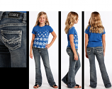 Girl's Boot Cut Embroidered Medium Vintage Wash Jeans by Rock and Roll Cowgirl