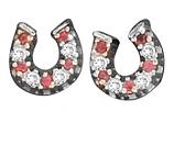 Womens Red Horseshoe Earrings by Kelly Herd