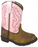 Kid's Pink and Brown Hopalong Boot for Toddlers by Smoky Mountain Boots