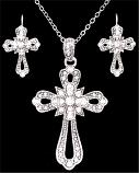 Silver Strike Crystal Cross Earring & Necklace Set by 3D Belt Company