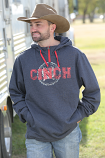 Men's Charcoal and Red 1/4 Zip Hoodie by Cinch