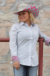 Women's Red, White and Blue Print Long Sleeve Button Down Shirt by Cinch