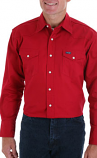 Men's Red Long Sleeve Cowboy Cut Button Down Western Shirt by Wrangler