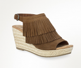 Women's Ashley Brown Suede Fringed Wedges by Minnetonka