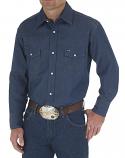 Men's Cowboy Cut Western Work Rigid Denim Long Sleeve Shirt by Wrangler