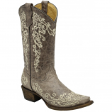 Kid's Distressed Brown Boot with Bone Embroidery by Corral Boots