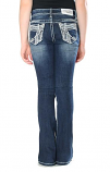 Girl's Addie Dark Wash White Embroidery Bootcut Jean by Grace in LA