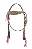 Floral Pink Fringe Browband Headstall by Bar H