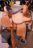 "14"" Natural Crown C Cervi Barrel Saddle with Full Elephant Seat by Martin Saddlery"