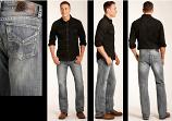 "Men's Embroidered ""V"" Pocket Double Barrel Jean by Rock & Roll Cowboy"