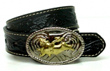 Kid's Black Floral Patterned Tooled Leather Belt by Nocona