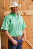 Men's Green Short Sleeve Weave Print Button Down Shirt by Cinch